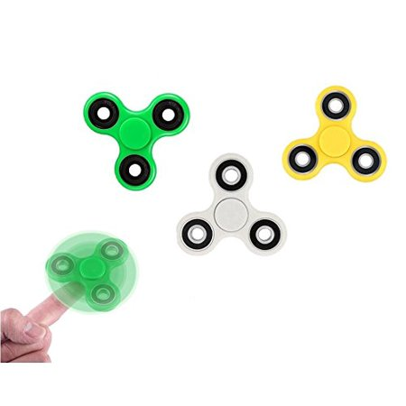 Classic Fidget Spinner 3 Pack For Anti Anxiety Relief From Adhd  Anxiety  And Boredom For Kids And Adults  Green  Yellow  White