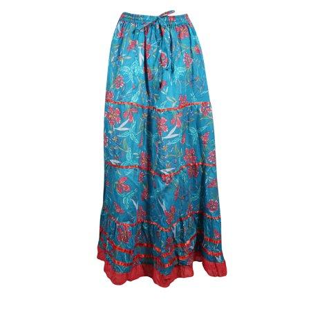 Mogul Women Blue Red A-Line Skirt Printed Cotton Summer Boho Chic Gypsy Skirts