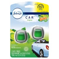 Febreze Car Odor-Eliminating Air Freshener, Gain Original, 2 Ct