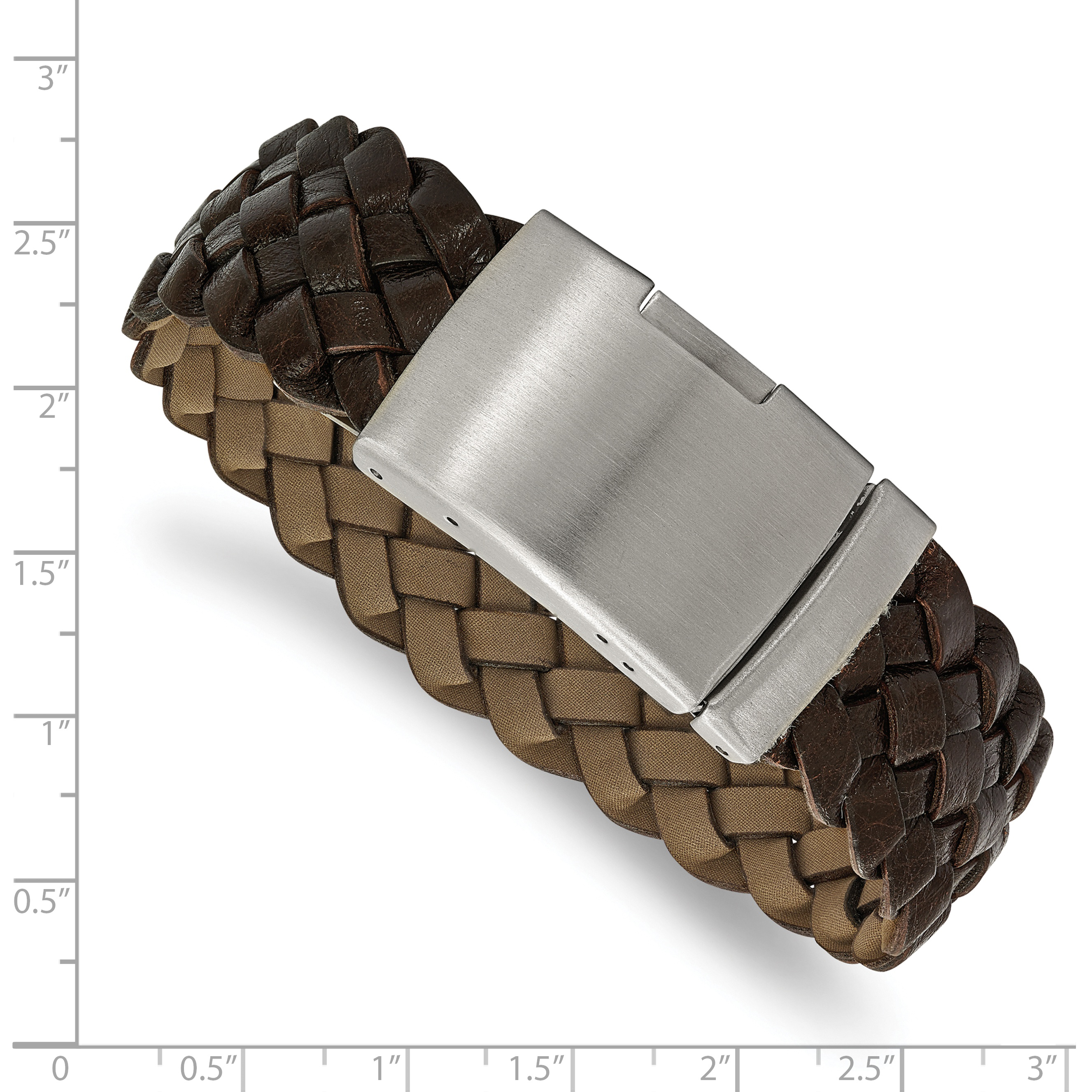 Stainless Steel Brushed Brown Leather Bracelet 9in - image 2 de 3