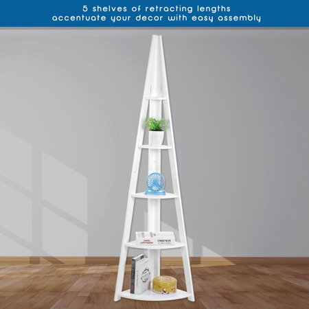 5-tier Corner Bookshelf Storage Cabinet Bookcase Rack Organizer Cd Book Decor Bathroom Shelves