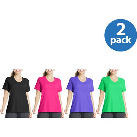 Just My Size Womens Plus-Size Cool DRI Performance V-neck 2-pack- Value Bundle