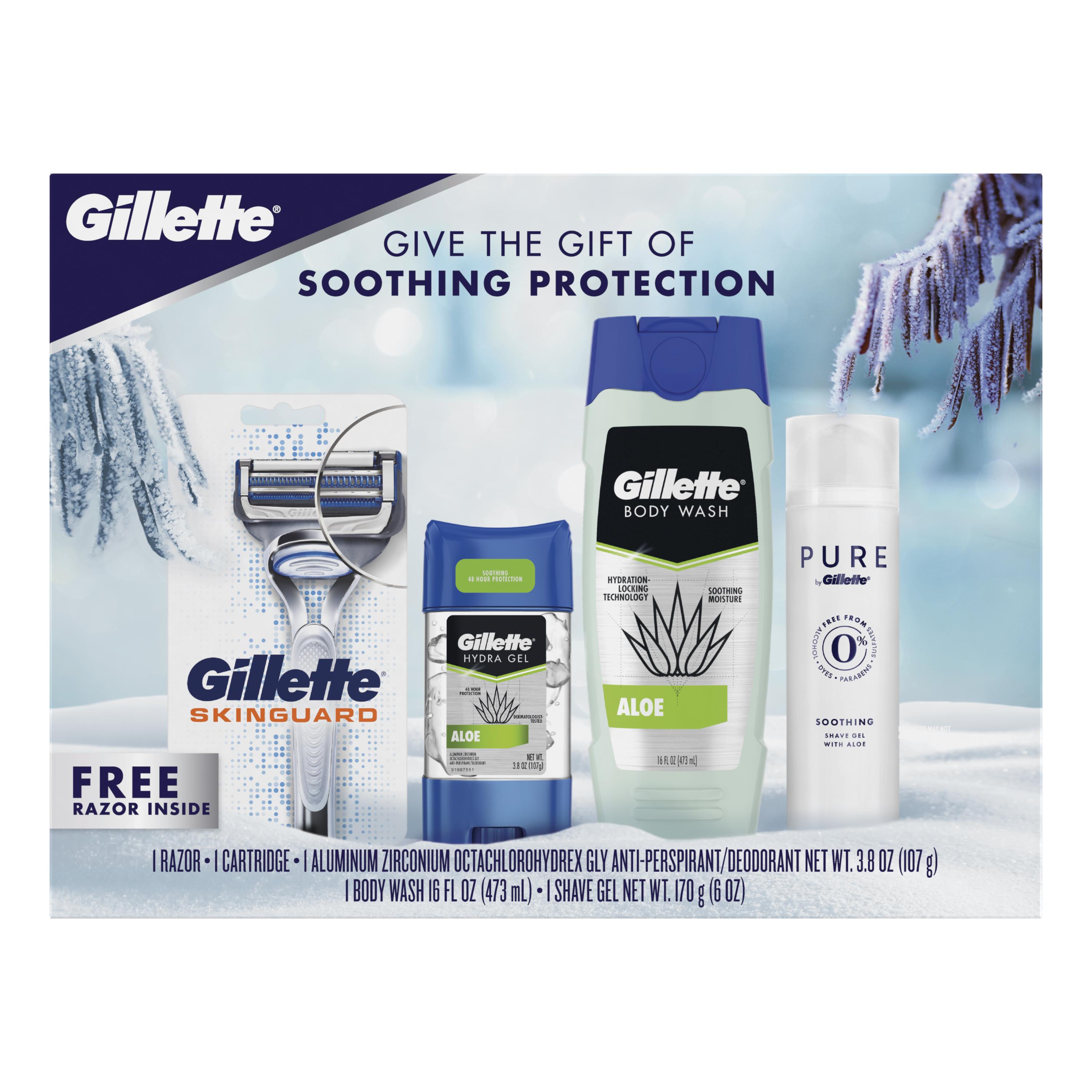 Gillette Gift Pack Soothing Gift Pack, Razor, Deodorant, Body Wash, and Soothing Shave Gel