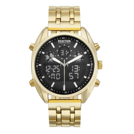Gold Tone Bracelet Watch (Kenneth Cole Reaction Men's Black Dial And Gold Tone Bracelet Watch )