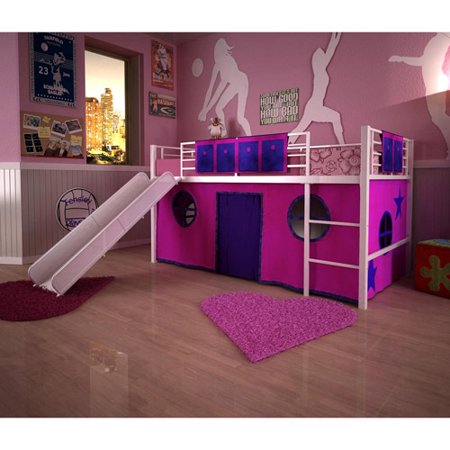 girls 39 loft bed with slide box 2. Black Bedroom Furniture Sets. Home Design Ideas