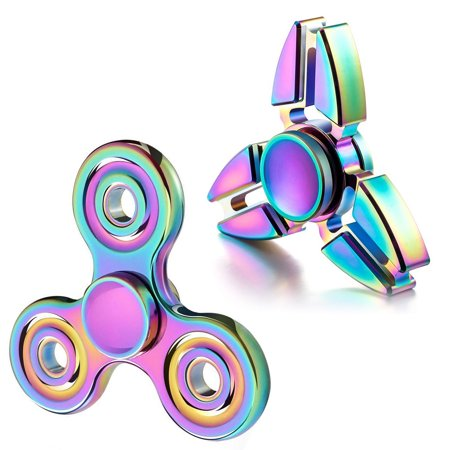 Colorful Rainbow Fidget Spinner  Eeekit 2 Packs Tri Fidget Hand Spinning  High Speed Focus Toy Gifts For Add  Adhd  Anxiety  Boredom Adult Kids