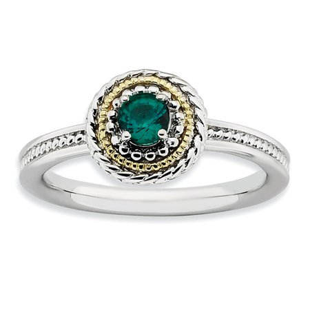 Sterling Silver and 14k Yellow Gold Simulated Emerald Ring - Size 5