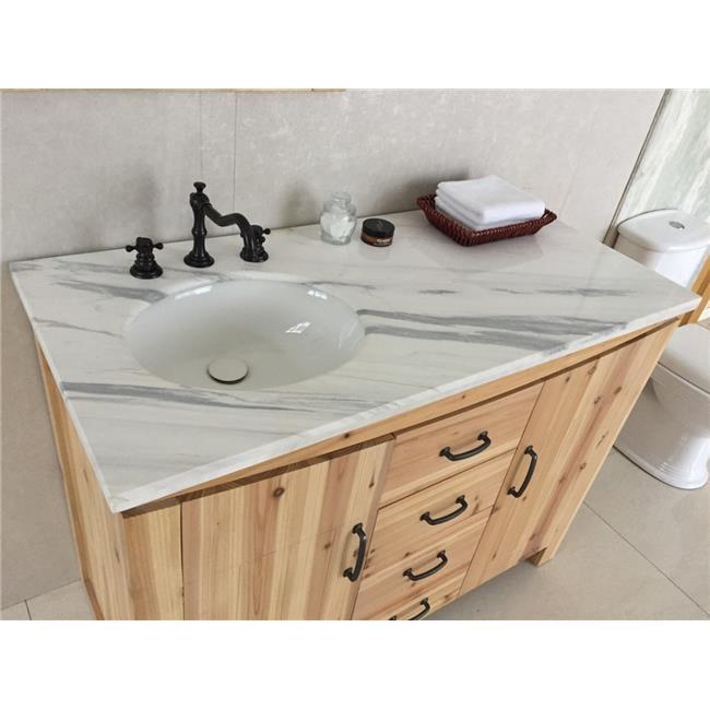 48 In Single Left Side Sink Vanity Solid Fir Jazz Natural 44 White Walmart Com Walmart Com
