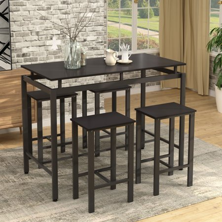 Image of 5 Piece Counter Height Dining Table, Heavy-Duty Dining Table Set, Modern Style Wooden Kitchen Table and 4 Chairs with Metal Legs, Breakfast Bar Table for Dining Room, Living Room, Black, W3240