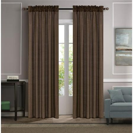 MR2 BROWN 2-PC SET MYRA Rod Pocket Faux Silk Window Curtain Treatment, Set of Two (2) Solid Semi Sheer Panels 55