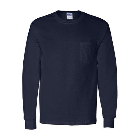 ccb0c62bfca Gildan - Ultra Cotton Long Sleeve T-Shirt with a Pocket - 2410 - Walmart.com