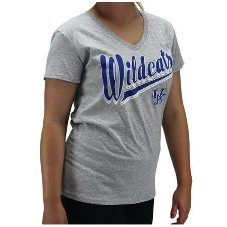 Creative Apparel Women's NCAA Kentucky Wildcats V-Neck Grey T-Shirt Kentucky Wildcats Ncaa Mesh