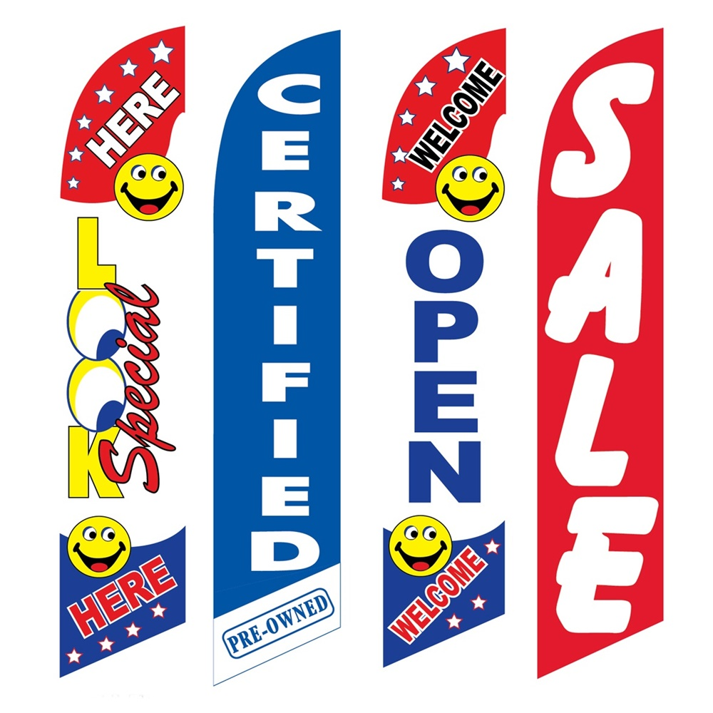 4 Advertising Swooper Flags Look Special Here Pre Owned Welcome Open Sale