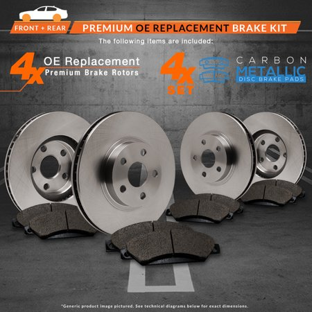 Max Brakes Front & Rear Premium Brake Kit [ OE Series Rotors + Metallic Pads ] TA024043 | Fits: 2003 03 2004 04 2005 05 2006 06 VW Golf 1.9L TDI/2.0L Models w/280mm Diameter Front Rotors - image 3 de 8
