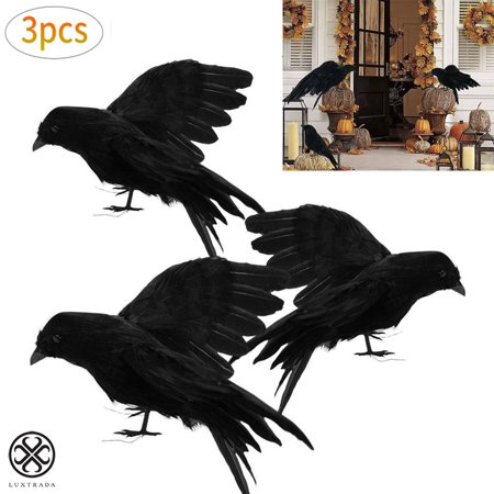 Halloween Headstones Make Your Own (Luxtrada Halloween Realistic Handmade Crow Prop 3 Pack Black Feathered Crow Fly and Stand Crows Ravens For Outdoors and Indoors Crow)