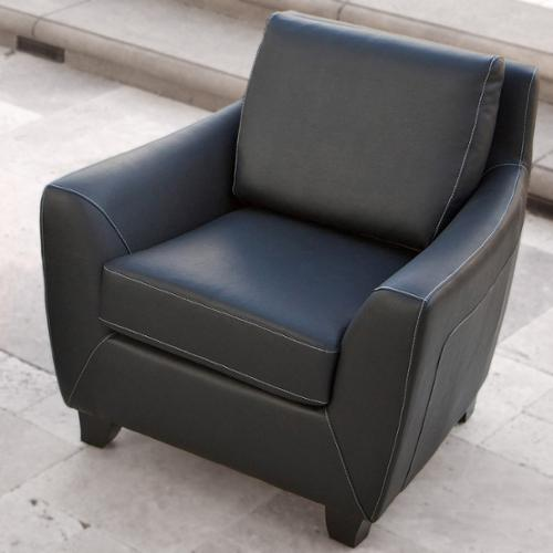 Mirana Black Leather Club Chair by GDF Studio