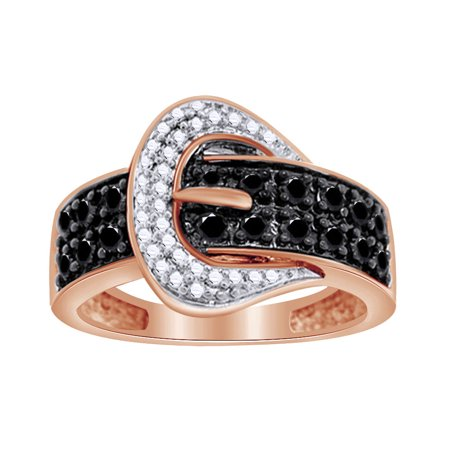 0.11 Ct Round Black Natural Diamond Belt-Buckle Ring in 14k Rose Gold Over Sterling Silver Ring Size - 13