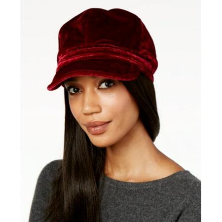 Nine West Velvet Newsboy Cap (red, One Size)