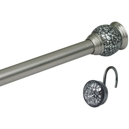 Standard Tension Set (Elegant Home Fashions Mosaic Satin Nickel Shower Tension Rod and Hook Set)