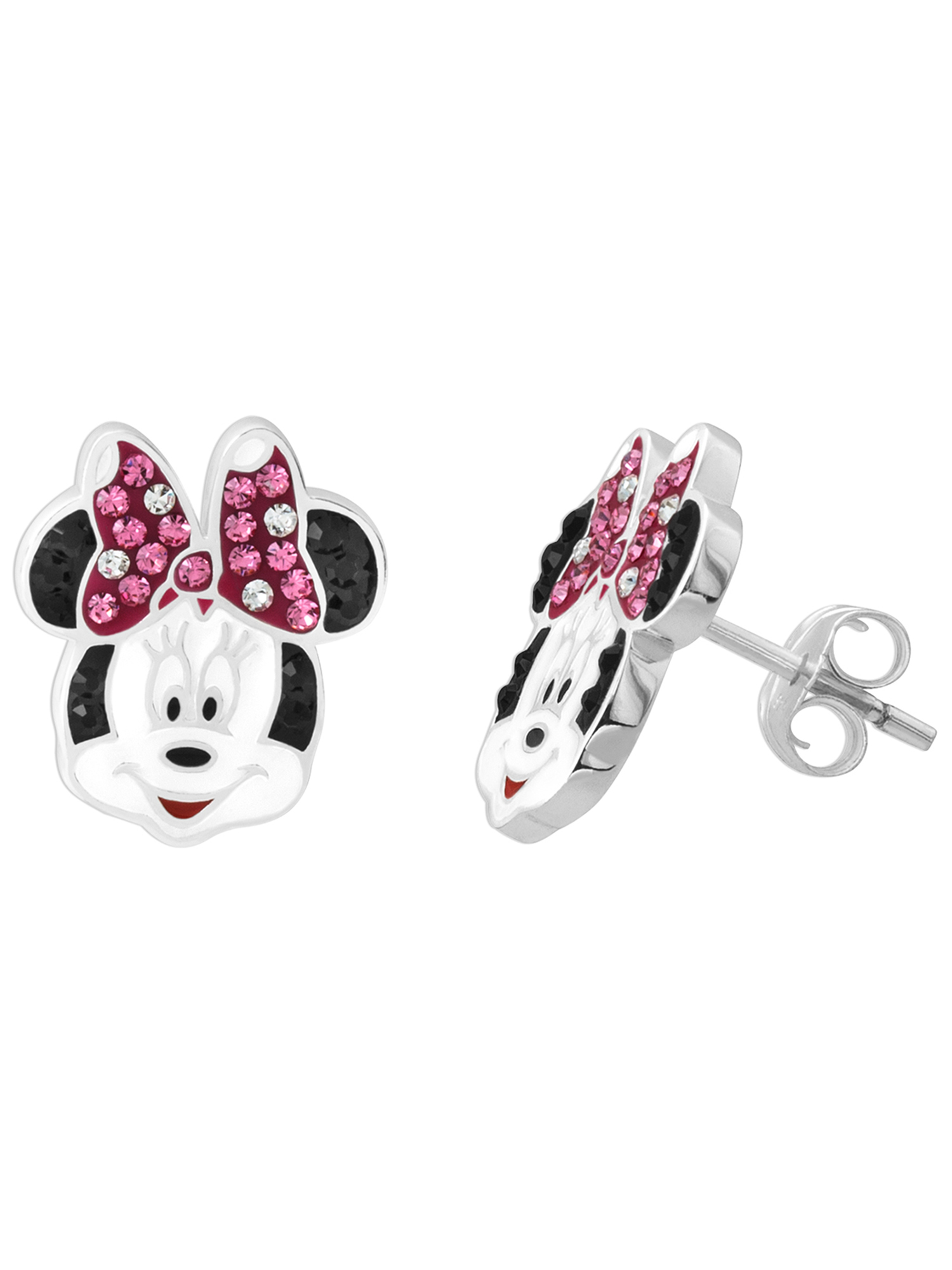 Disney Minnie Mouse Sterling Silver Pink and White Crystal Stud Earrings