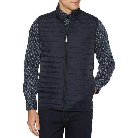 Quilted Mix-Media Zip Vest (Mens Gaspard Vest)