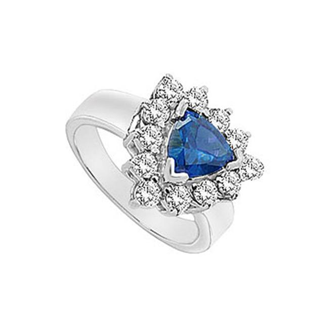 FineJewelryVault UBUK1034W10CZS-118 Diffuse Sapphire and Cubic Zirconia Ring : 10K White Gold - 2. 00 CT TGW - Size: 7
