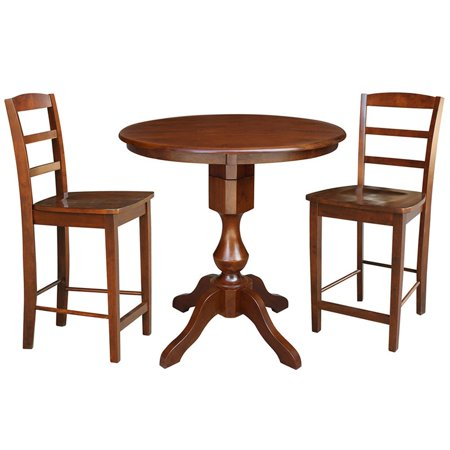 Enjoyable 36 Round Pedestal Gathering Height Table With 2 Counter Height Stools 3 Piece Set Espresso Beatyapartments Chair Design Images Beatyapartmentscom