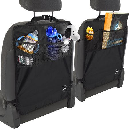 OxGord Kick Mats Seat Protector with Storage Organizer Pocket- 2 Pack - Universal Fit for Car, Truck, SUV, or Van - Rear Auto Bucket Seat Upholstery Protective