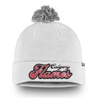 Calgary Flames Fanatics Branded Women's Team Dazzle Cuffed Knit Hat with Pom - White - OSFA