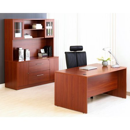 Jesper Managers Desk with Credenza and Hutch and Optional Chair - Cherry
