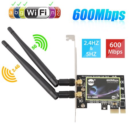 TSV Bluetooth WiFi Card AC 600Mbps, Wireless WiFi PCIe Network Adapter Card 5GHz/2.4GHz Dual Band PCI Express Network Card with  2 Antenna for Desktop/PC Gaming