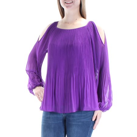 INC Womens Purple Pleated Slitted Long Sleeve Jewel Neck Top  Size: XS