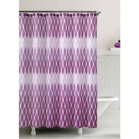 Jansen Purple Embossed Microfiber Shower Curtain 72x