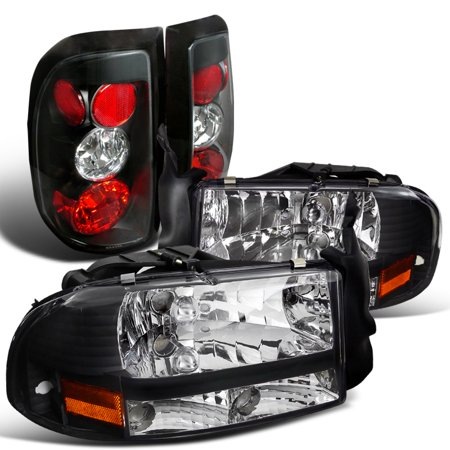 - Spec-D Tuning 1997-2004 Dodge Dakota Black Crystal Headlights + Tail Brake Lamps (Left + Right)