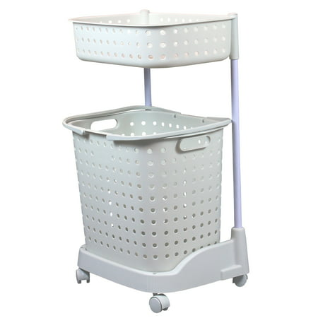 Basicwise 2-Tier Laundry Basket With Wheels, Off-White