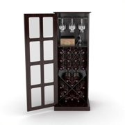 Pemberly Row Windowpane 24 Wine Cabinet In Espresso