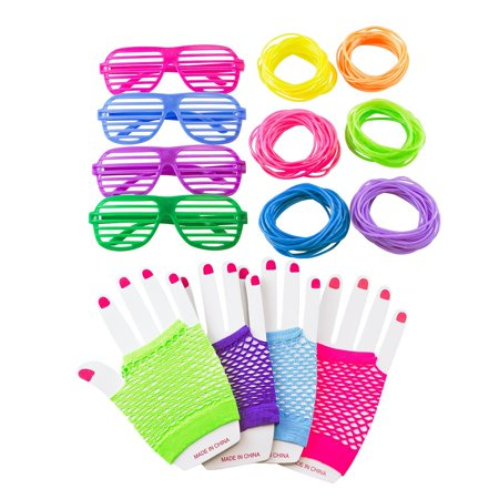 80s Retro Rock Pop Star Disco Dress-Up Party Pack Supply Set, Diva Finger-less Net Gloves, Shutter Style Glasses, Jelly Neon Gel Bracelets by Super Z Outlet - Party City Disco Theme