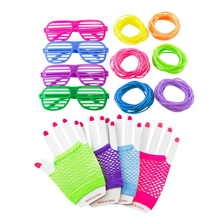 80s Retro Rock Pop Star Disco Dress-Up Party Pack Supply Set, Diva Finger-less Net Gloves, Shutter Style Glasses, Jelly Neon Gel Bracelets by Super Z Outlet - Neon Bracelets