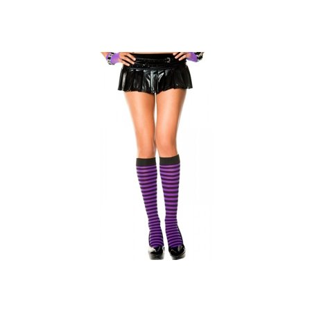 Opaque Black Purple Striped knee high