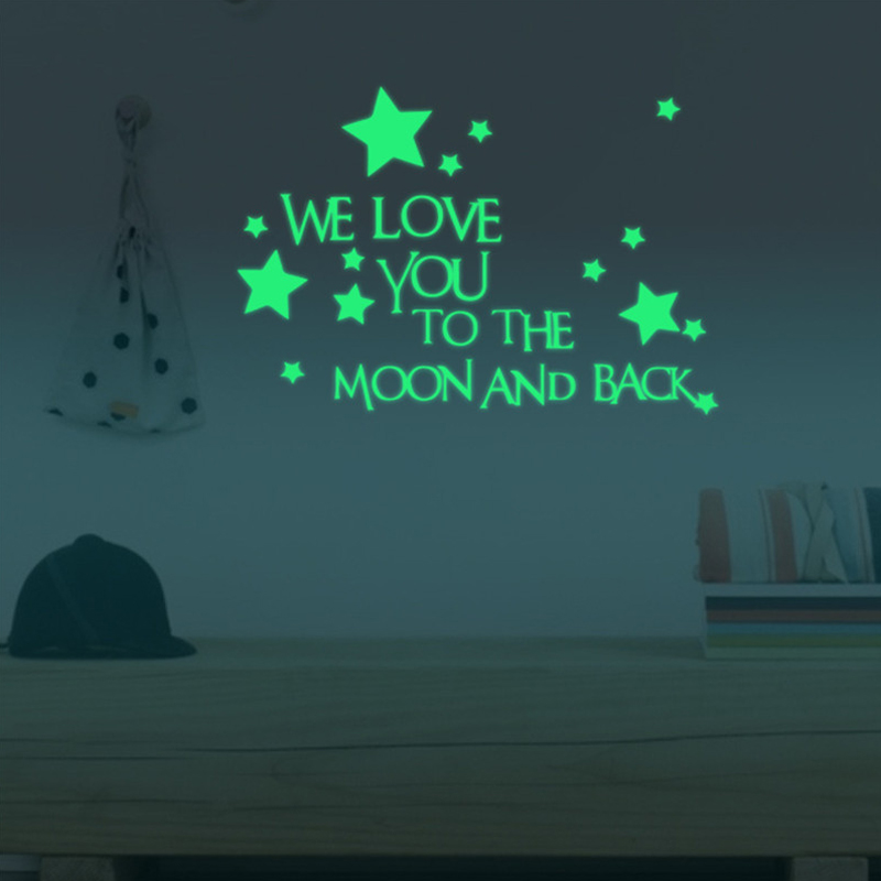 Outgeek Glow in Dark Luminous Stars Removable Wall Stickers Decorative Letter Sticker for Kids Bedroom Home Decor
