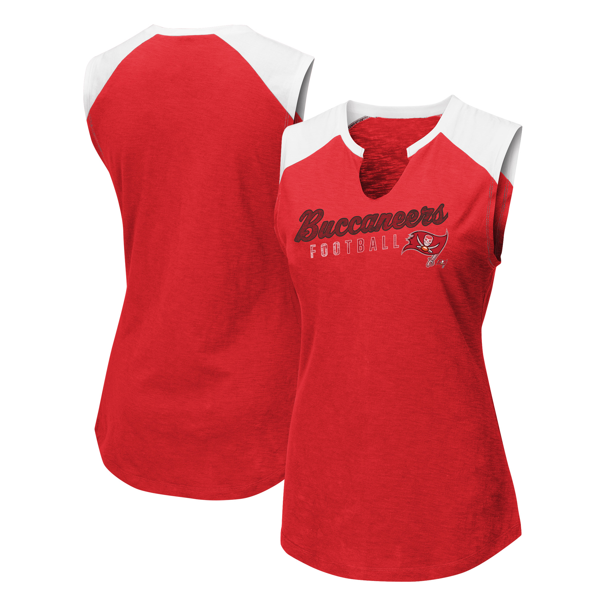 Tampa Bay Buccaneers Majestic Women's V-Notch Muscle Tank Top - Red/White