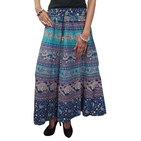 c6fb6b331f Mogul Interior - Mogul Women's Indian Skirt Blue Animals Print ...