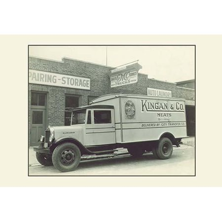 A photography of an early delivery truck  This insulated meat truck for Kingan & Co would hold blocks of ice to keep the meat fresh as it made its deliveries Poster Print by
