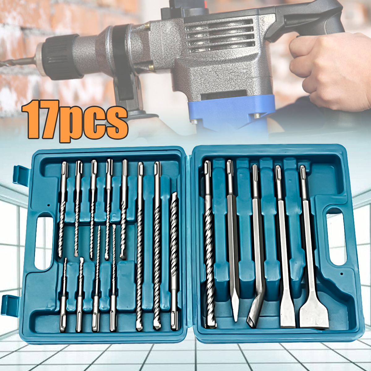 17pcs/set Drill Bits Chisel SDS Plus Rotary Hammer Bits Set Fit Bosch HILTI Plus Hydropower Installation Tools