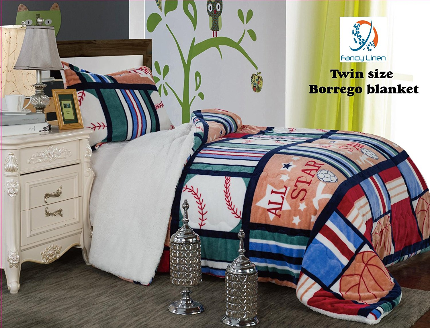 Fancy Collection 2pc Twin Size Teens boys Blanket Sumptuously Soft Plush Sport Blue Red... by