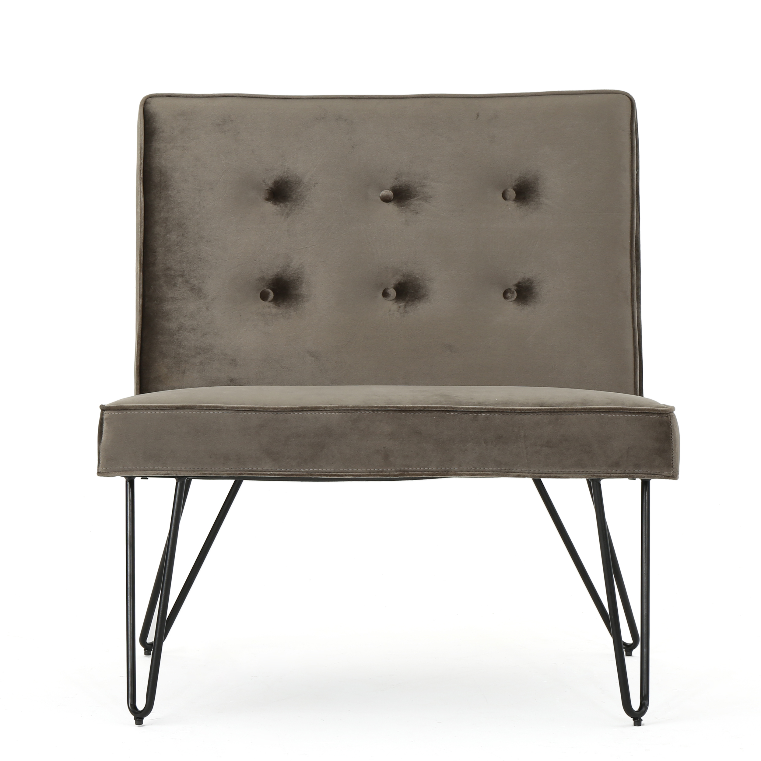 DuSoleil New Velvet Modern Armless Chair, Grey