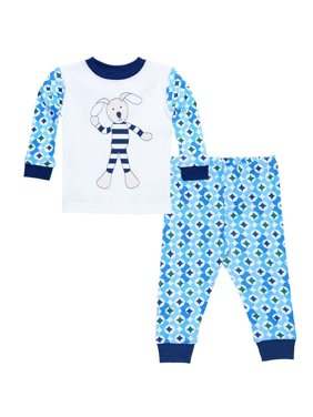Organic Cotton Baby Long Johns - Navy Prism Print 6m