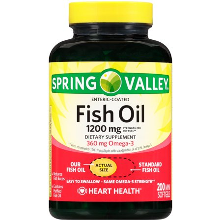 Spring valley fish oil 1200mg dietary supplement 200 mini for Fish oil pills walmart
