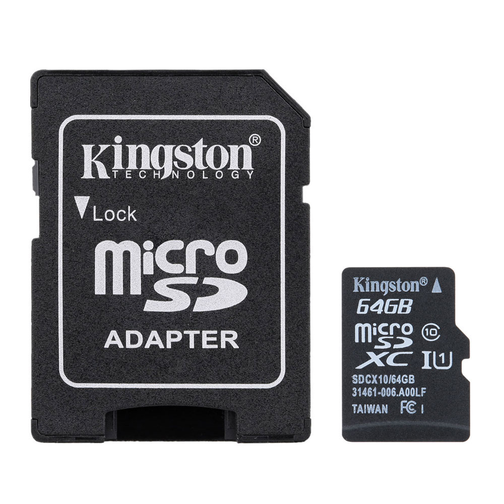 Kingston Class 10 MicroSD TF Flash Memory Card 48MB/s Maximal Speed with Card Adapter 64GB
