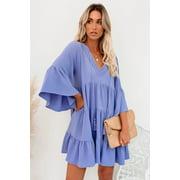 Cute Sky Blue Cotton Tiered Babydoll Tunic Dress